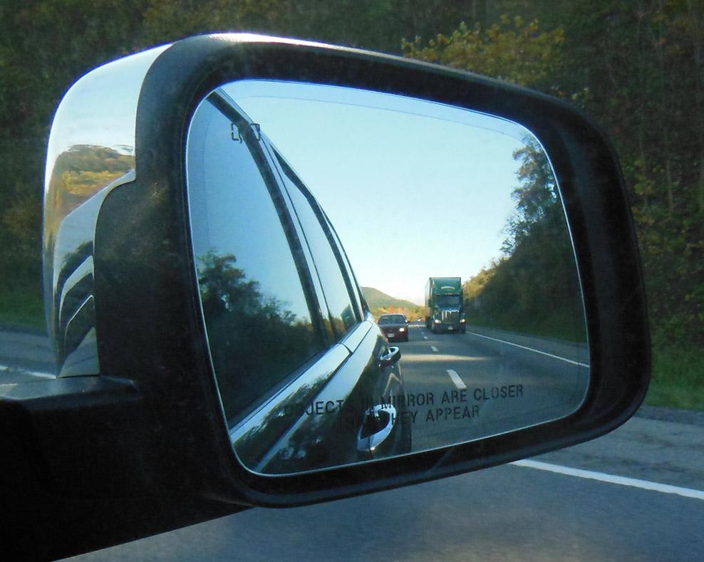 Truck in Car's Mirror